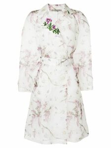 Ermanno Scervino floral print trench coat - White