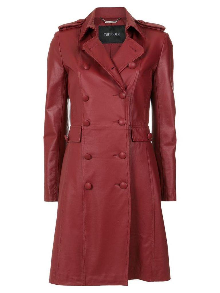 Tufi Duek leather trenchcoat - Red