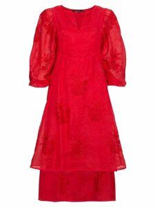 Vita Kin Happy Flowers Linen Dress - Red