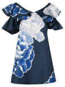 Josie Natori ruffle sleeve peony dress - Blue