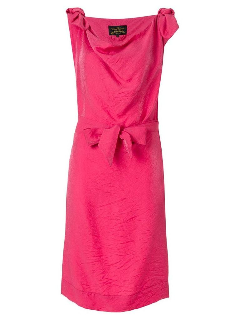 Vivienne Westwood Anglomania cowl neck bow dress - Pink