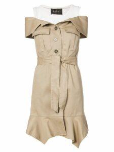 Nicole Miller off-the-shoulder button dress - Brown