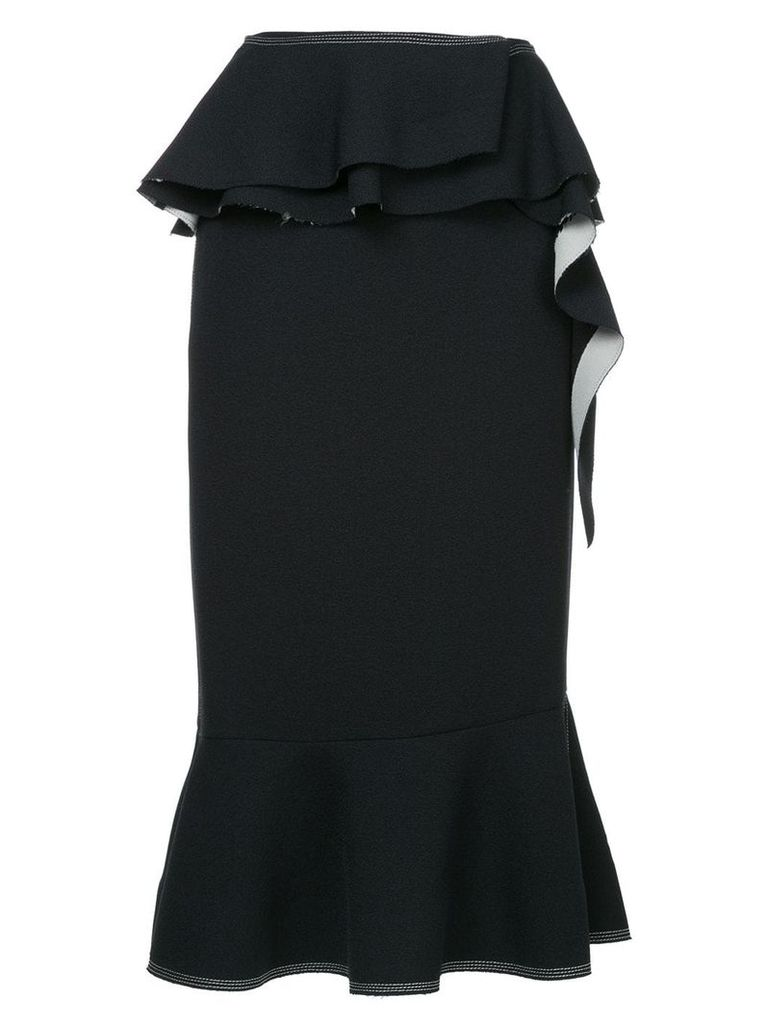 Irene Natalie contrast stitch ruffled skirt - Blue