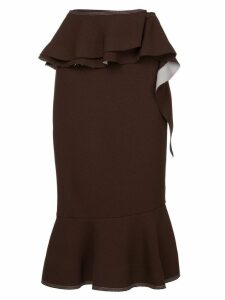 Irene Natalie contrast stitch ruffled skirt - Brown