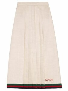 Gucci Linen pleated skirt - White