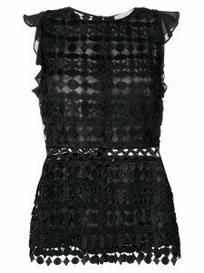 Michael Michael Kors geometric floral lace top - Black