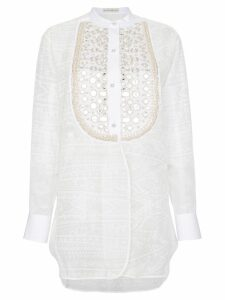 Etro Silk mirror embellished bib blouse - White