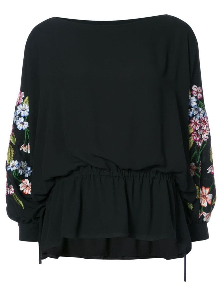 Josie Natori poet sleeve top - Black