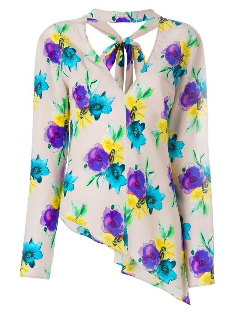 MSGM asymmetric floral blouse - Neutrals