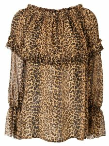 Saint Laurent leopard print blouse - Brown