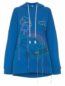 Mira Mikati oversized embroidered cotton hoodie - Blue