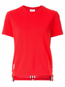 Thom Browne grosgrain trim piqué T-shirt - Red