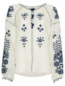 Vita Kin White Floral Motif Linen Top