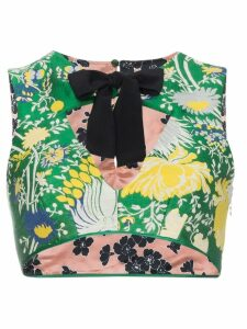 Rochas Floral crop top with bow - Green