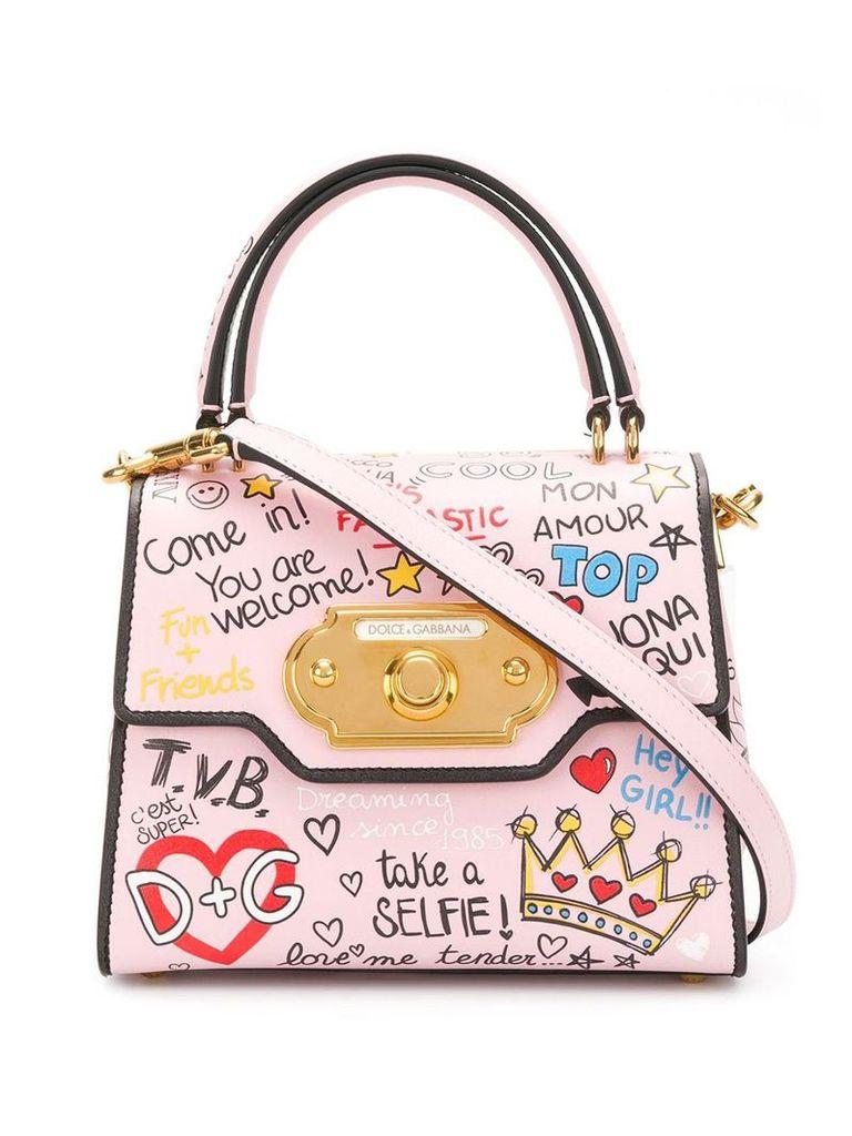 Dolce & Gabbana mini Welcome mural print tote - Pink