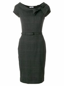 MOSCHINO PRE-OWNED plaid belted fitted dress - Grey