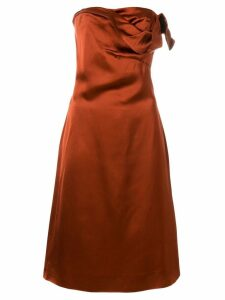 VERSACE PRE-OWNED draped strapless dress - Brown