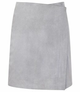 Reiss Cammie - Suede Skirt in Blue, Womens, Size 14