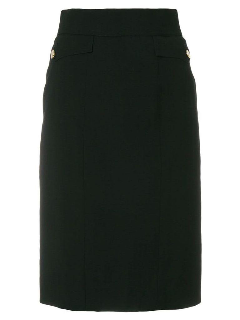 Chanel Vintage flap pockets pencil skirt - Black
