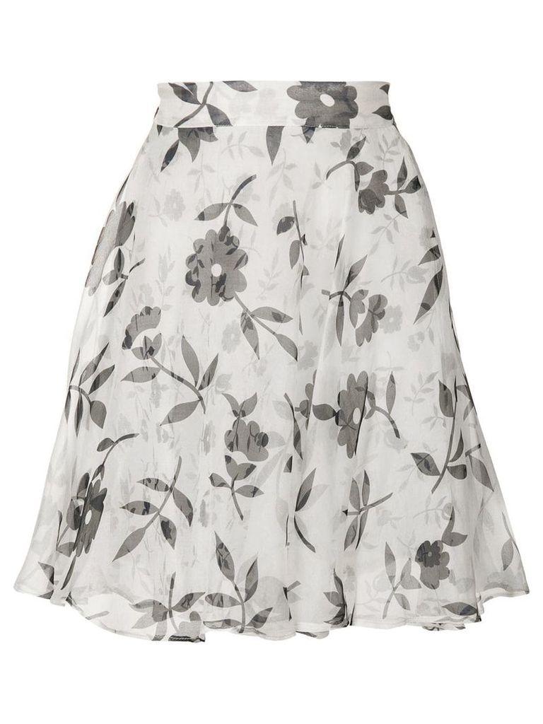 Versace Vintage floral flared skirt - White