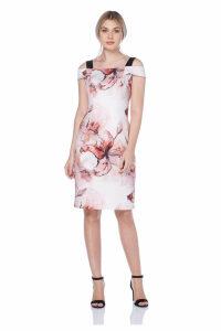 Cold Shoulder Floral Print Scuba Dress