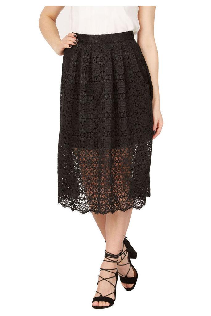 Izabel London Lace Overlay Midi Skirt