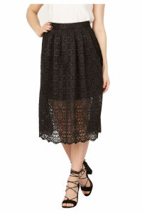 Izabel London Lace Overlay Midi Skirt