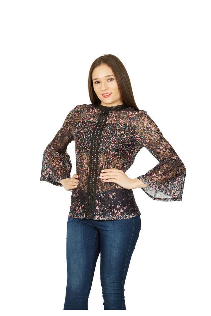 Izabel London Sheer Embroidered Floral Shirt