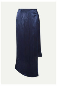 Sid Neigum - Wrap-effect Hammered-satin Midi Skirt - Navy