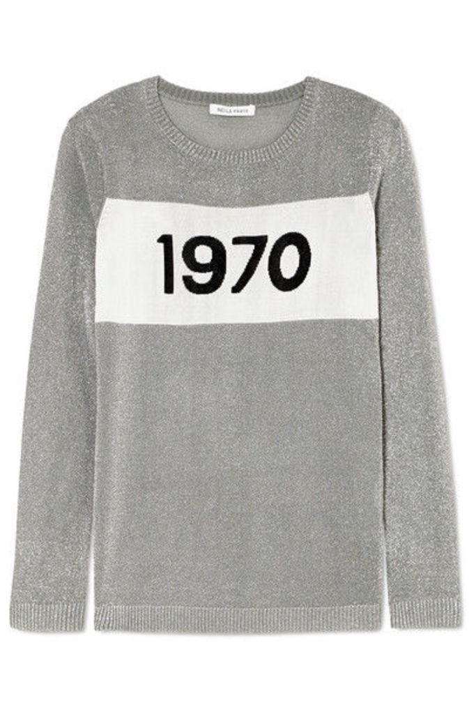 Bella Freud - Sparkle 1970 Metallic Knitted Sweater - Silver