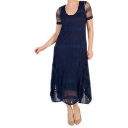 Chesca Sheer & Stripe Crush Pleat Drape Dress, Navy