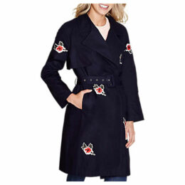 Yumi Embroidered Trench Coat, Dark Navy