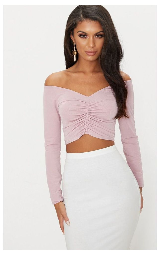 Dusty Pink Slinky Ruched Front Long Sleeve Crop Top, Dusty Pink