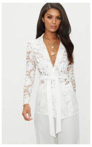 White Lace Belted Blazer, White