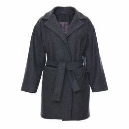 Zalinah White - Petite Boyfriend Coat in Grey British Wool