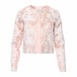 Zalinah White - Nour Classic Cropped Blazer In Cosmetic Rose Gold Brocade
