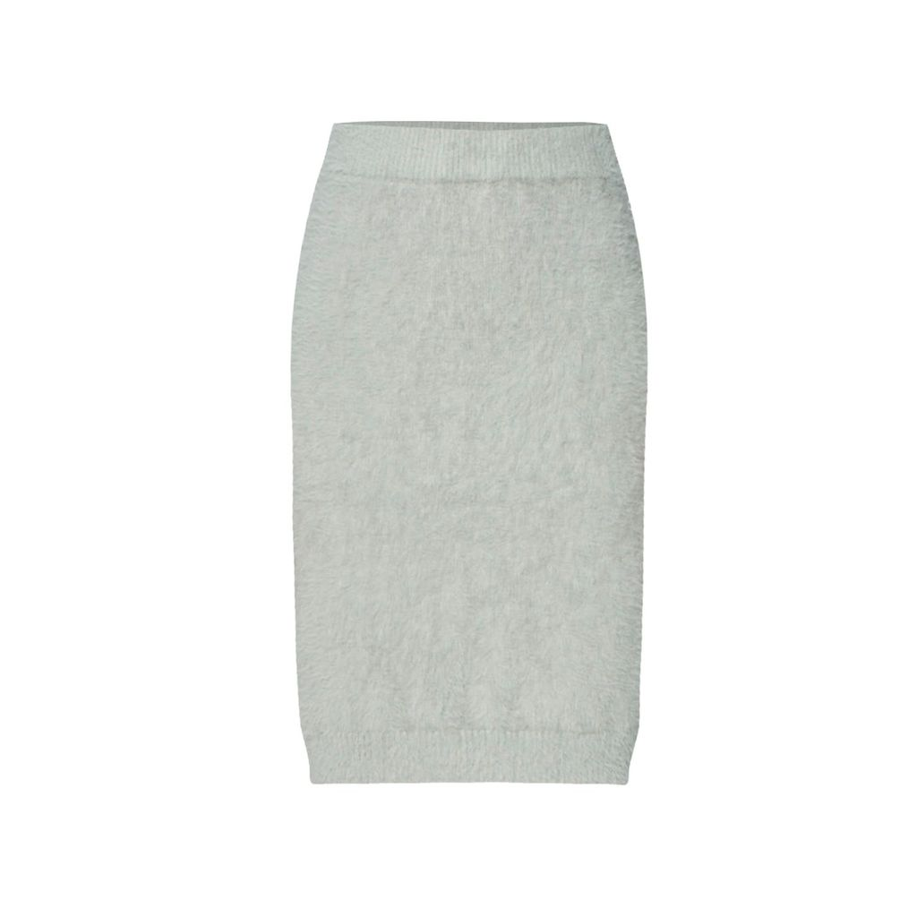 PAISIE - Soft Fluffy Pencil Skirt In Grey