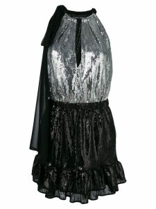 Christian Pellizzari two-tone sequinned dress - Black