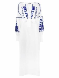 Wandering long embroidered dress - White
