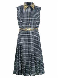 Thom Browne plaid embroidered shirt dress - Blue