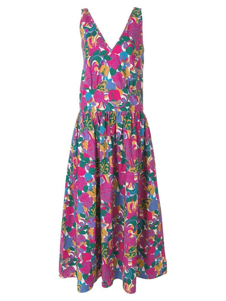 La Doublej long v-neck print dress - Pink