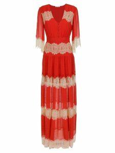 Nk lace silk long dress - Red