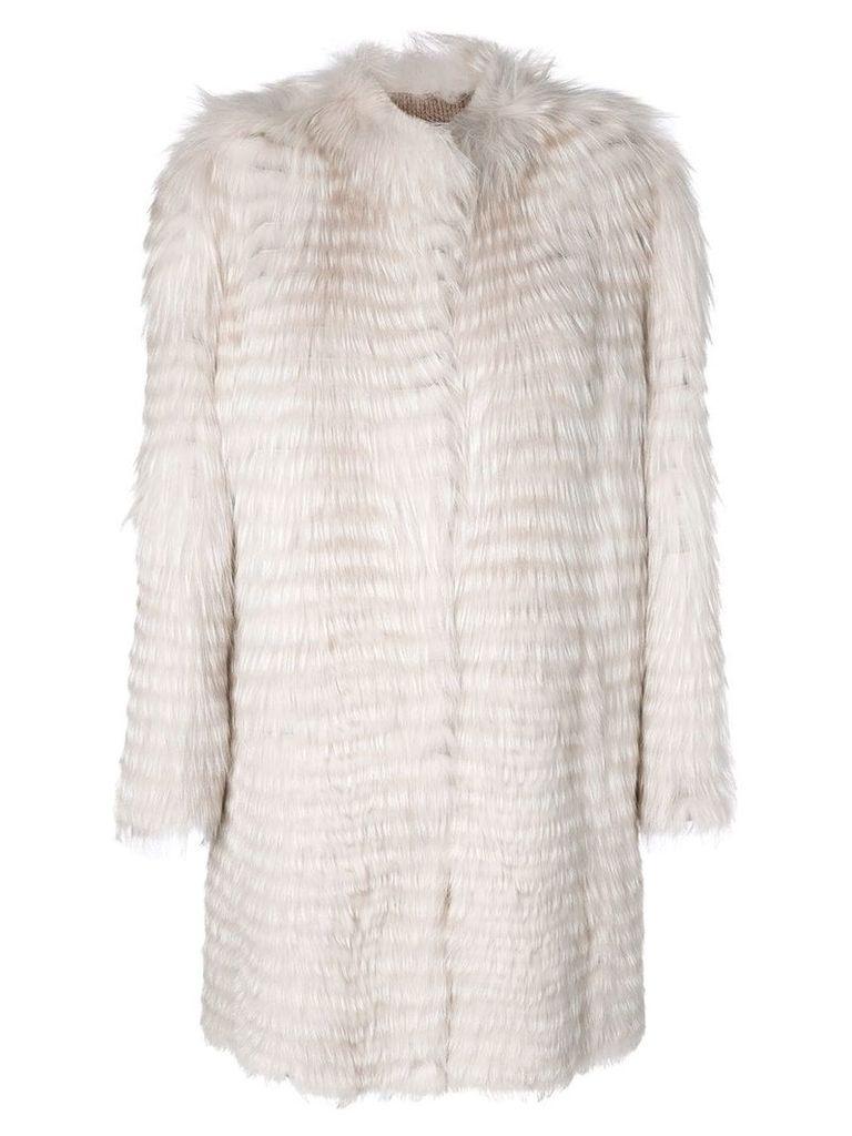 Liska striped mid-length jacket - White