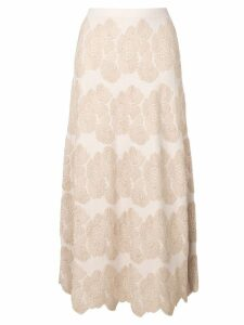 D.Exterior floral embroidered midi skirt - Neutrals