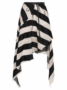 Marques'Almeida Maled Asymmetric Stripe Skirt - Black