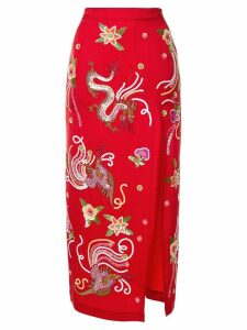 Attico embellished fitted skirt - Red