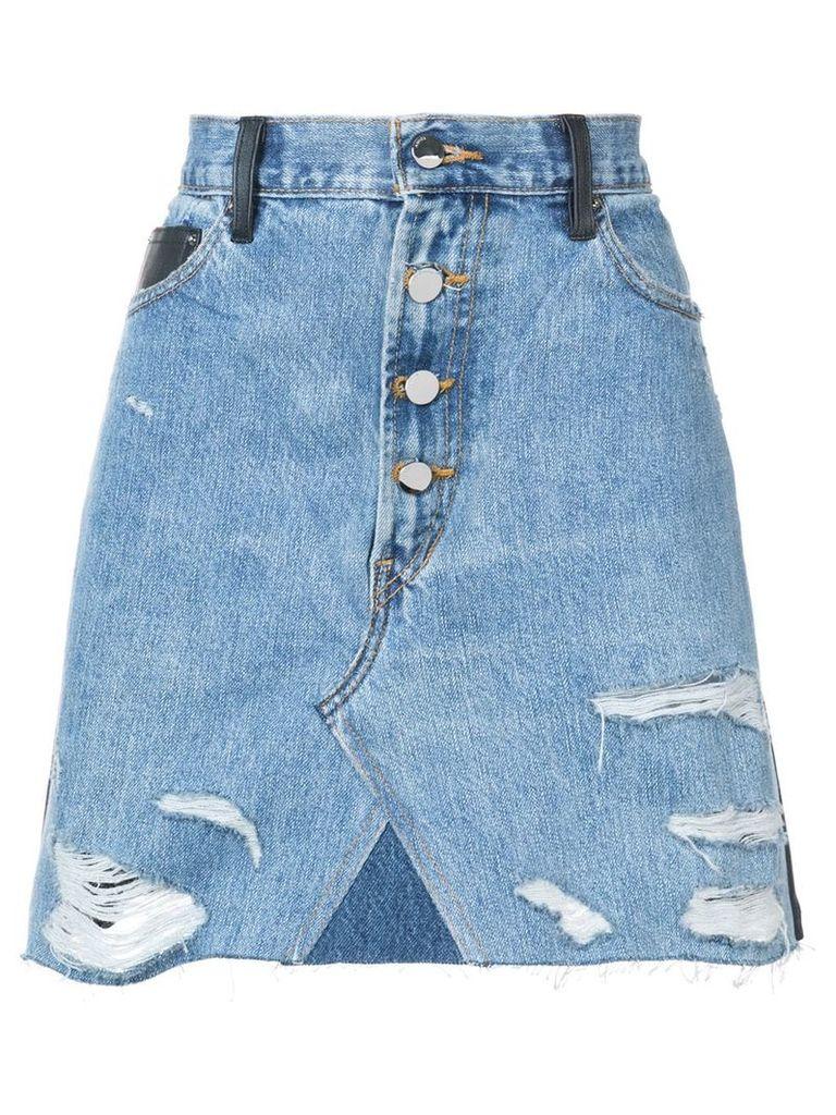 Amiri contrasting frayed denim skirt - Blue