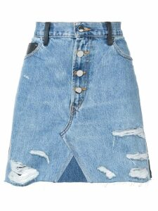 Amiri contrasting frayed denim skirt - Blue