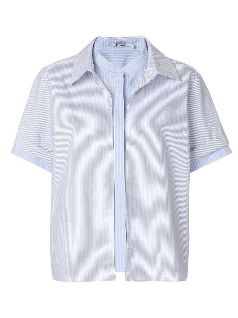 T By Alexander Wang multi stripe blouse - Blue