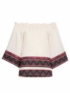 Celia Dragouni off-shoulder zig zag embroidered cotton top - Neutrals